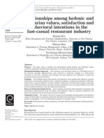 Relationships Among Hedonic and Utilitarian Values Satisfaction and Behavioural Intentions in the Ast Casual Restaurant Industry - Kisang Ryu Heesup Han Soocheong Jang