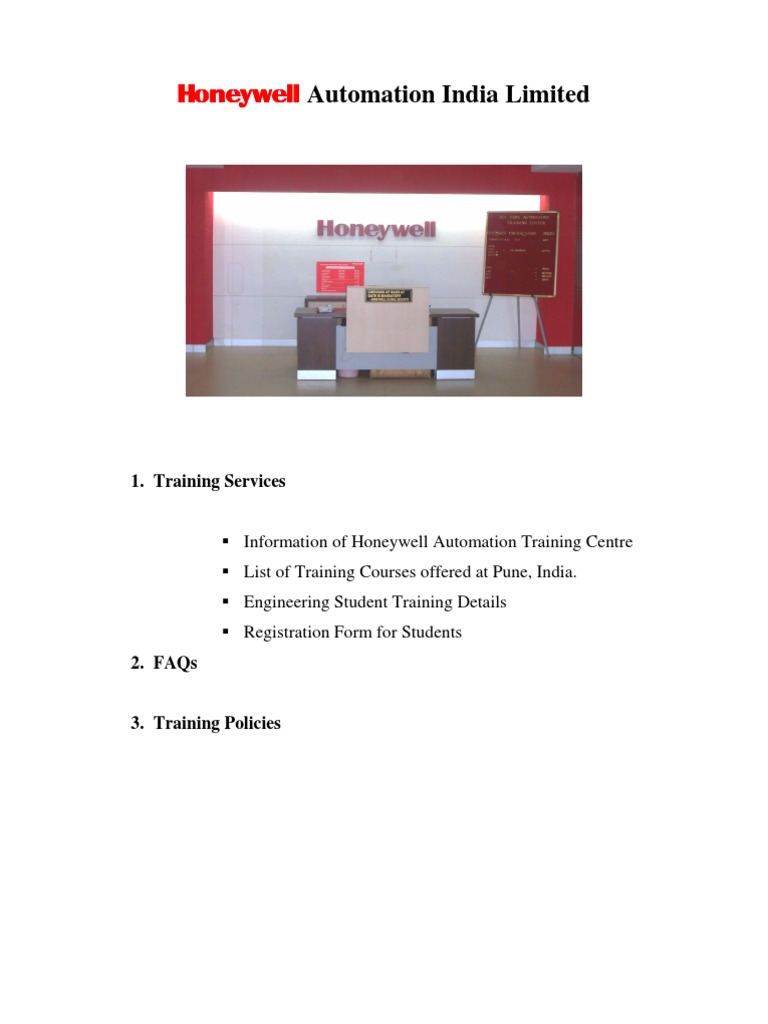 HONEYWELL Corporate and Student Training Schedule