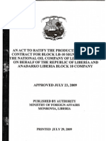 An Act to Ratify the Production Sharing Contract for Block LB-10 Signed Between the National Oil Company of Liberia (NOCOL) on Behalf of the Republic of Liberia and Anadarko Liberia Block 10 Company