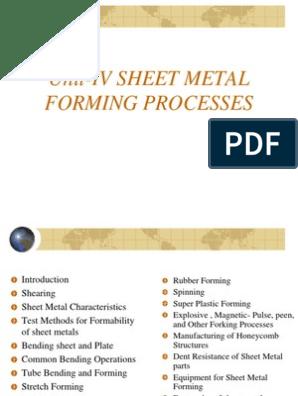 unit-4 sheet metal process ppt   Sheet Metal   Bending