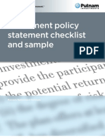 Investment Policy Statement Checklist and Sample