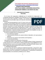 RELATORIA 1 FORO MORELIA MICHOCAN VIERNES 31 DE MAYO DE2013.docx