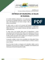 Comunicado de Prensa No. 231. 19 de Junio de 2013. Entrega Dif Municipal 15 Sillas de Ruedas.