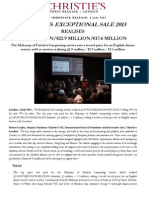 Christie's Exceptional Sale 2013  Realises  £15 Million/$22.9 Million/€17.6 Million