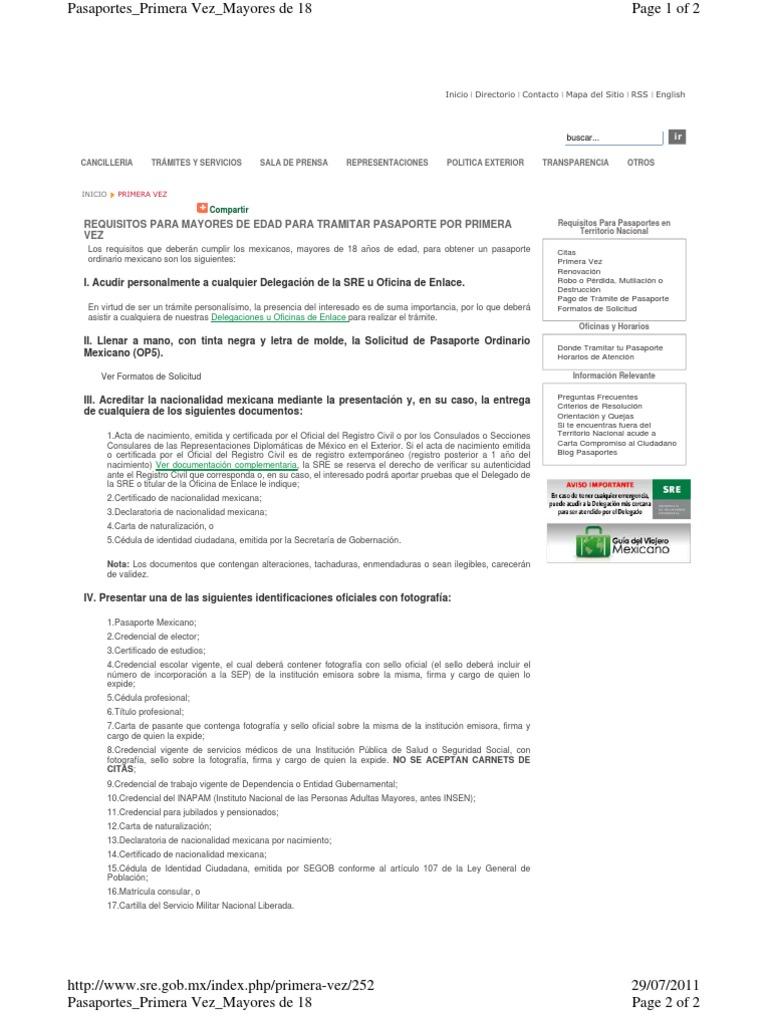 Requisito Pasaporte Mexicano Mayores