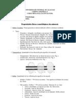 Propriedades físicas e morfológicas dos minerais