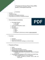 Roteiro para contratação de Prestação de Serviços PF (RPA)