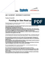Ulan Rd funding joint response from GlencoreXstrata, Peabody Energy and Moolarben Coal.