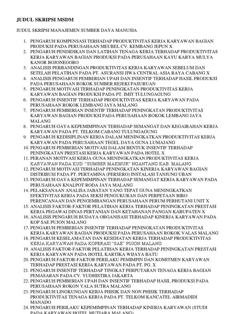 Skripsi Msdm 3 Variabel Pdf Pejuang Skripsi