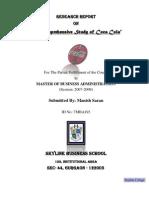 Coca-cola Report prepared by Manish Saran