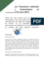 Le point sur l'économie nationale Indicateurs économiques et financiers à fin mars 2013
