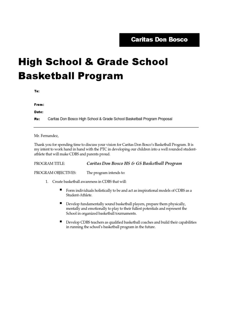 Sample Basketball Program Proposal | Teaching And Learning | Sports  Event Proposal Sample Letter