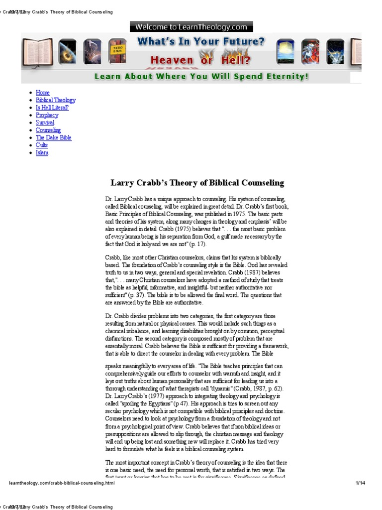 Larry Crabbs Theory Of Biblical Counseling Self Actualization