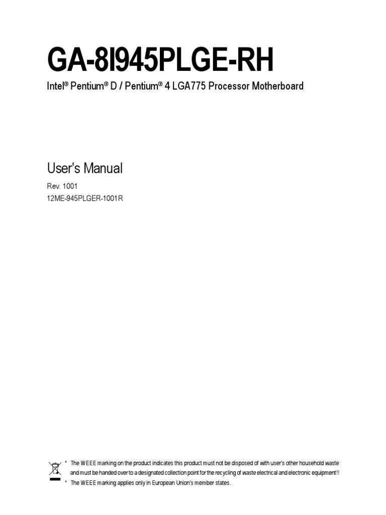 Motherboard Manual Ga 8i945plge Rh E Bios Floppy Disk 17pw25 4 Circuit Diagram