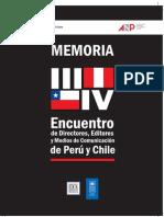 Memoria III y IV Encuentro de Directores, Editores y Medios de Comunicación de Perú y Chile