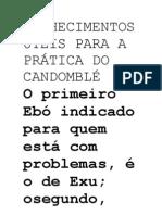 CONHECIMENTOS ÚTEIS PARA A PRÁTICA DO CANDOMBLÉ