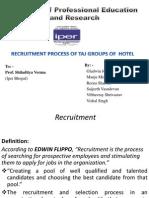 RECRUITMENT PROCESS OF TAJ GROUPS OF  HOTEL