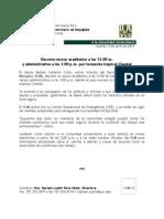 Decreto Receso Académico y Administrativo por tormenta Chantal