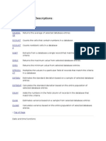 Excel Functions Descriptions