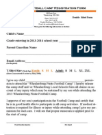 Football Camp Registration Form 2013