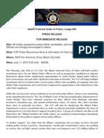 FOP Press Release 7-9-13