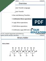 Arithmetic Micro-operations and BinaryAdder