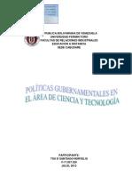 POLÌTICAS GUBERNAMENTALES EN EL  AREA DE CIENCIA Y TECNOLOGIA