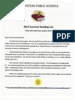 Summer Readling List 2013