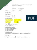 Pure Mathematics Formulae List Revised