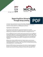 Supporting Micro Enterprises Through Group Lending