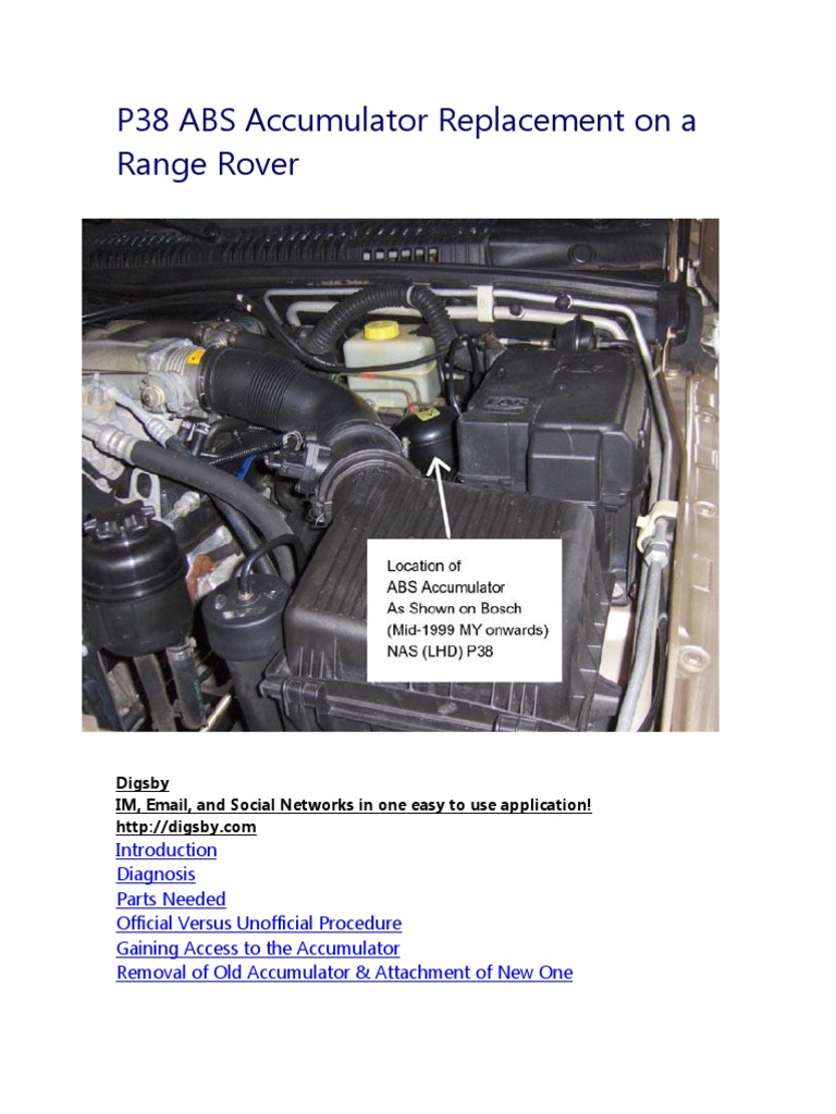 p38 abs accumulator replacement on a range rover | anti lock, Wiring diagram