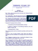 Batas Pambansa Bilang 881_election Law