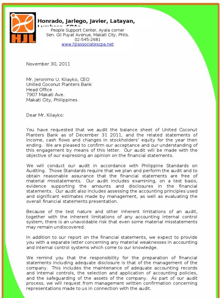 Audit Engagement Letter U0026 Management Representation Letter(example) | Audit  | Financial Statement  Audited Accounts Template