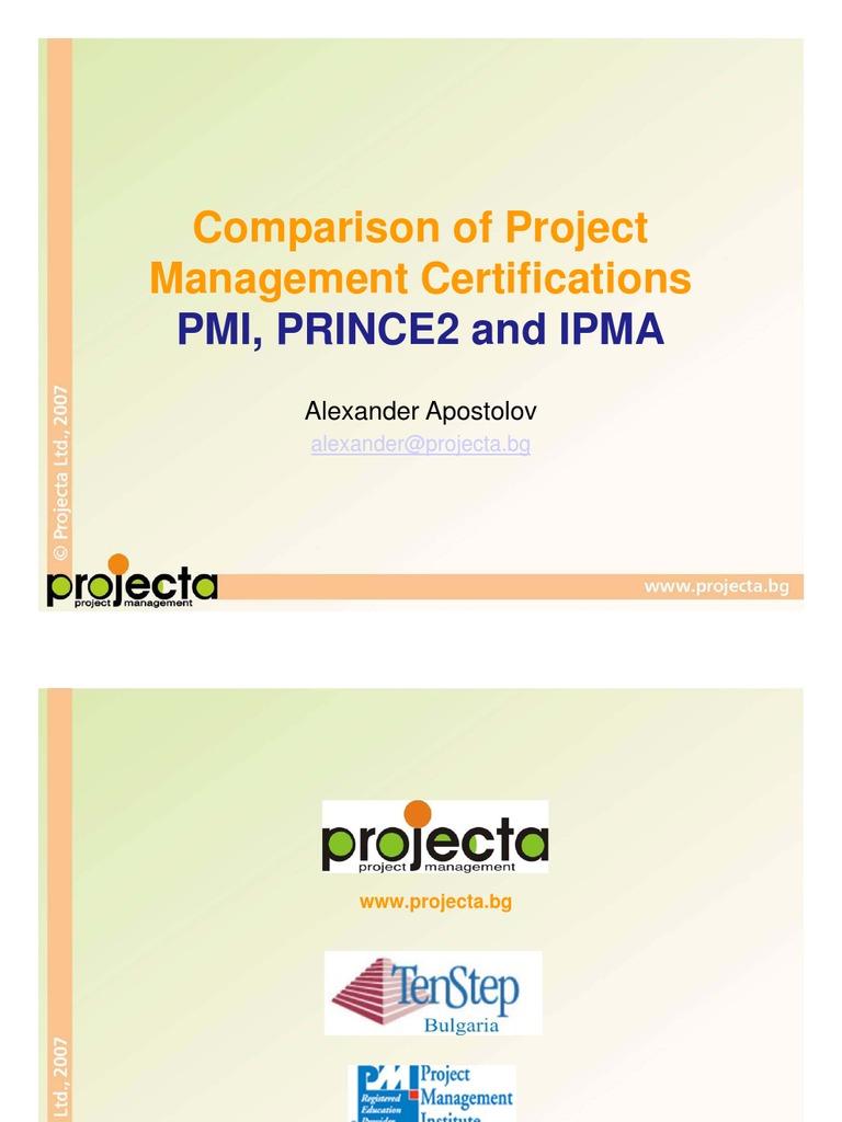 Pmiprince2 Ipma Comparison Test Assessment Project