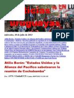 Noticias Uruguayas miércoles 10 de julio del 2013