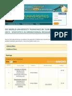 QS World University Rankings by Subject 2013