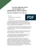 Aprueban tasas registrales de los servicios de inscripción y de publicidad por oficina registral