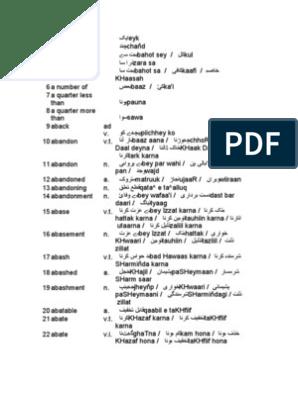 English to Urdu and Roman Urdu Dictionary
