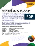 Lancashire Music Hub  Seeking Singing Ambassadors