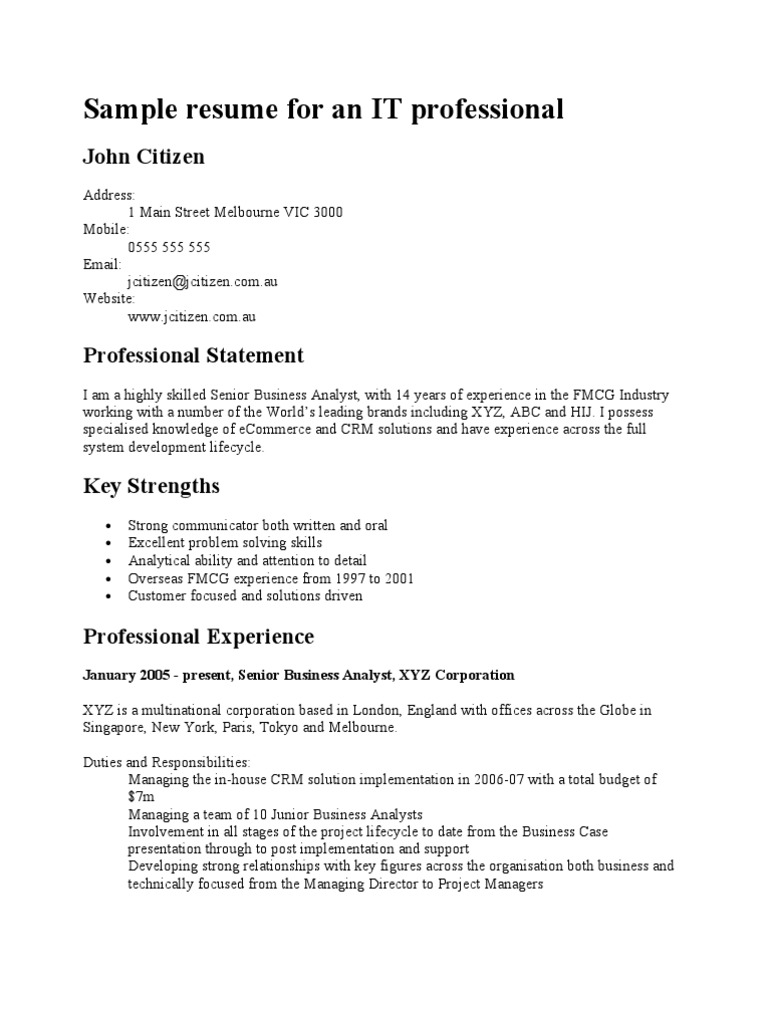 Sample Resume For An It Professional Data Center Itil Free