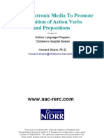 Use Of Electronic Media To Promote Acquisition of Action Verbs and Prepositions