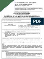 EOI Palma - Información Matricula Nuevos admitidos