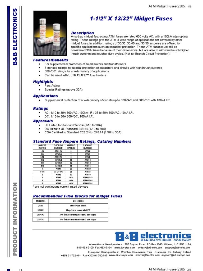 Atm Midget Fuses 2305ds1 Fuse Electrical Automated Teller Box Handle Machine