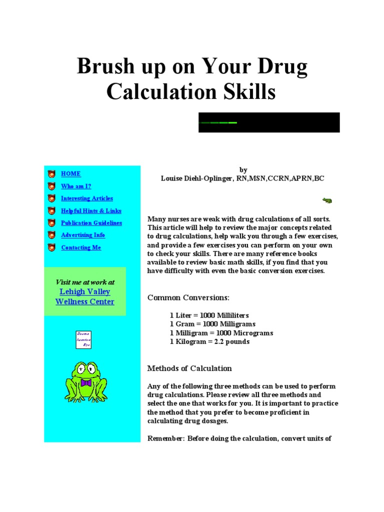 Brush up on your drug calculation skills dose biochemistry brush up on your drug calculation skills dose biochemistry intravenous therapy nvjuhfo Gallery