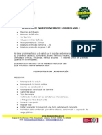 REQUISITOS DE INSCRIPCIÓN CURSO DE BOMBEROS NIVEL I