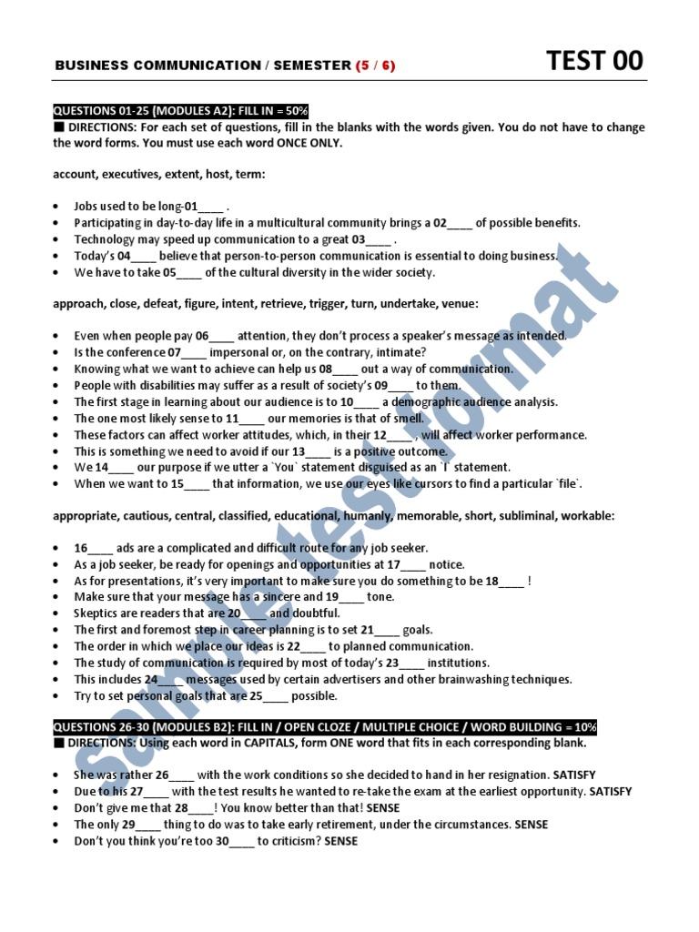 Sample Test Format | Test (Assessment) | Communication