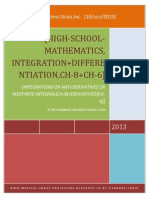 Ch-8, Integrations or Anti-Derivatives [ ch-8 ] + differentiations [ ch-6 ].