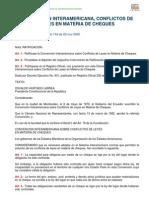 Convencion Interamericana, Conflictos de Leyes en Materia de Cheques