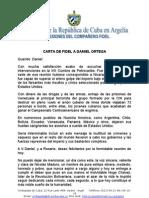 Carta de Fidel a Daniel Ortega