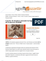 9.7.2013, 'Cervia. in Mostra i Mosaici in Legno Pregiato Di Francesco Ridolfi', Romagna Gazzette